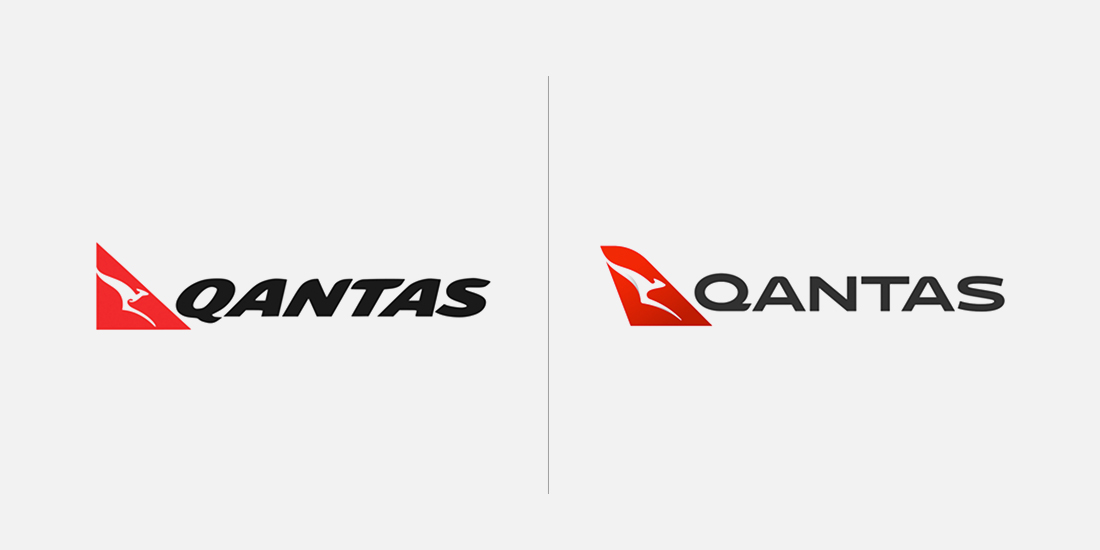 Qantas old and new logo side-by-side